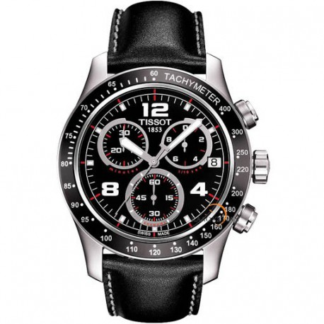Tissot Black Leather Strap Chronograph Dial Watch