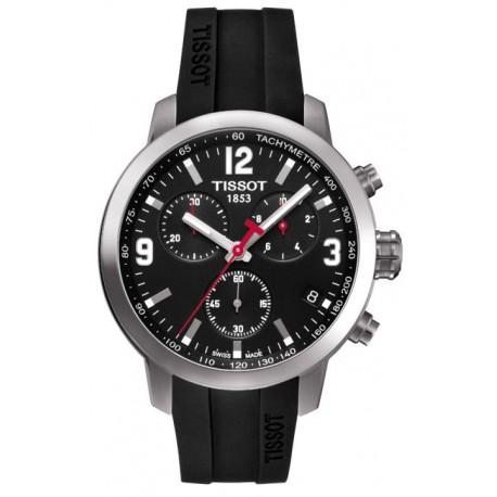 Tissot PRC 200 Chronograph Black Dial Black Rubber