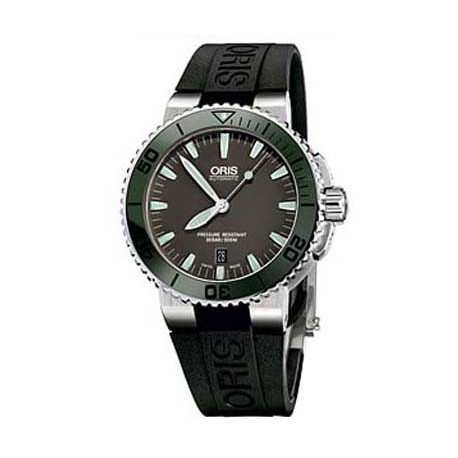 ORIS Aquis Date Grey Dial Black Rubber Mens Watch
