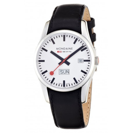MONDAINE Retro Gents Day-Date Leather Band Watch
