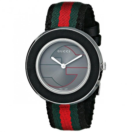 Gucci U-Play Medium Grey Nylon Silver Dial YA129444