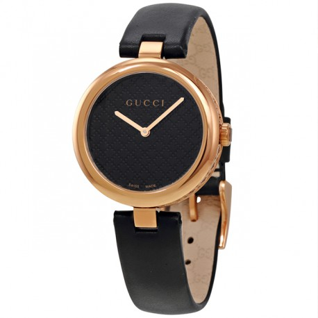 Gucci Diamatissima Black Lacquered Dial Ladies Watch YA141401
