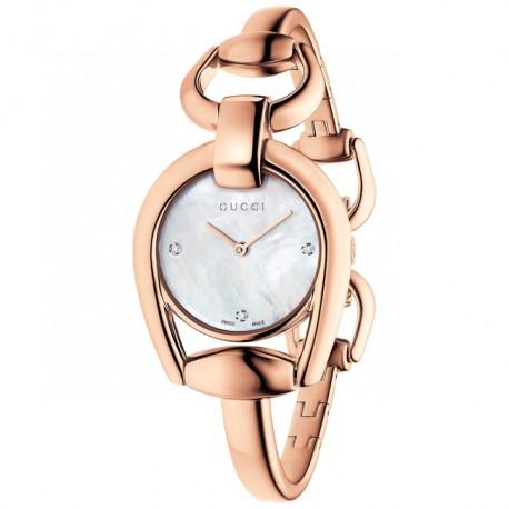 Gucci Ladies Horsebit Diamond Rose YA139508