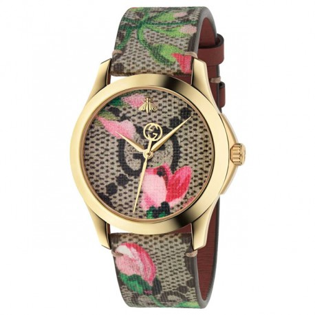 Gucci G Timeless Pink Blooms Print Watch YA1264038