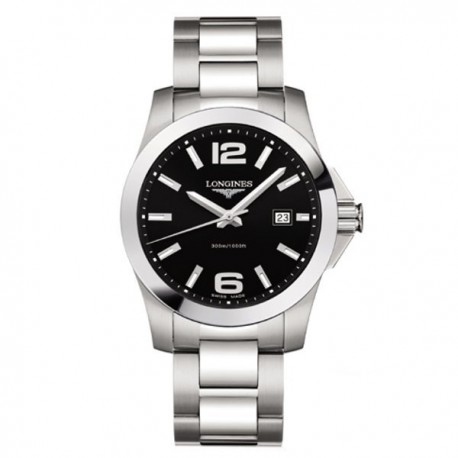 LONGINES Conquest Black Dial Stainless Steel Mens Watch