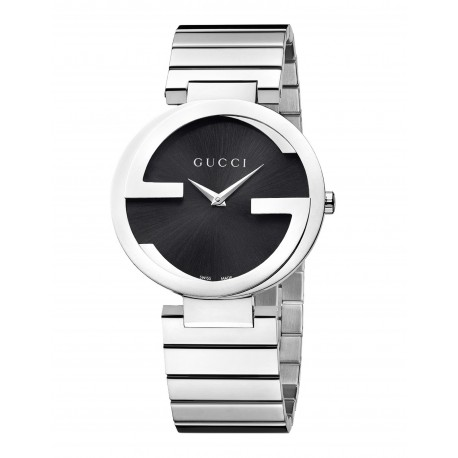 Gucci Interlocking G Black Dial Stainless Steel Ladies Watch YA133307
