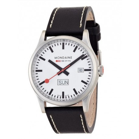 MONDAINE Day Date Leather Band Watch