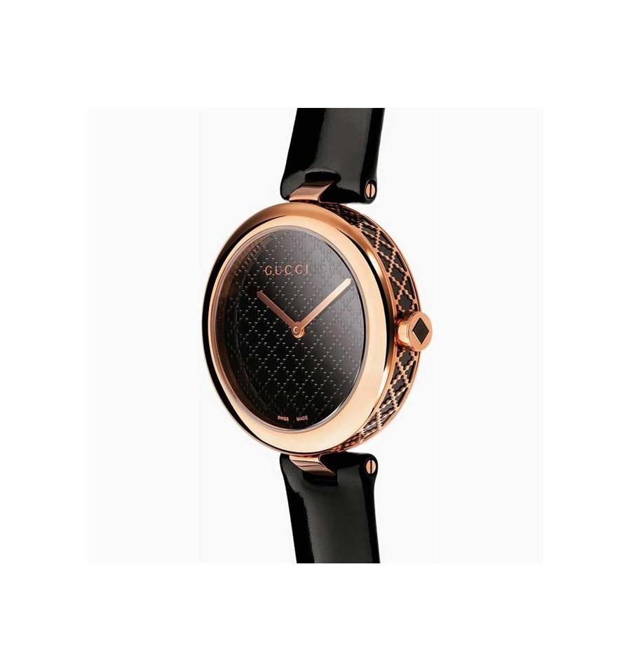 dfc857f48b4 ... Gucci Diamatissima Black Lacquered Dial Ladies Watch YA141401 ...